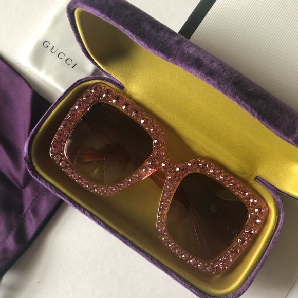 5f79923e25 NEW Gucci Pink Rhinestone Sunglasses 0148